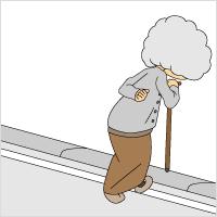 段差を越える高齢者