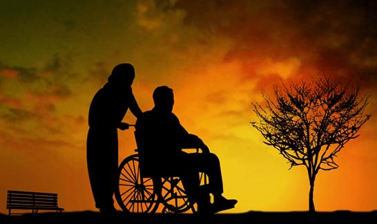 車椅子利用者と介護者の影